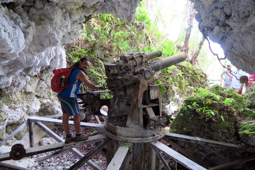 Japanese engineers failed to see the big picture when they housed this naval gun in the caves.