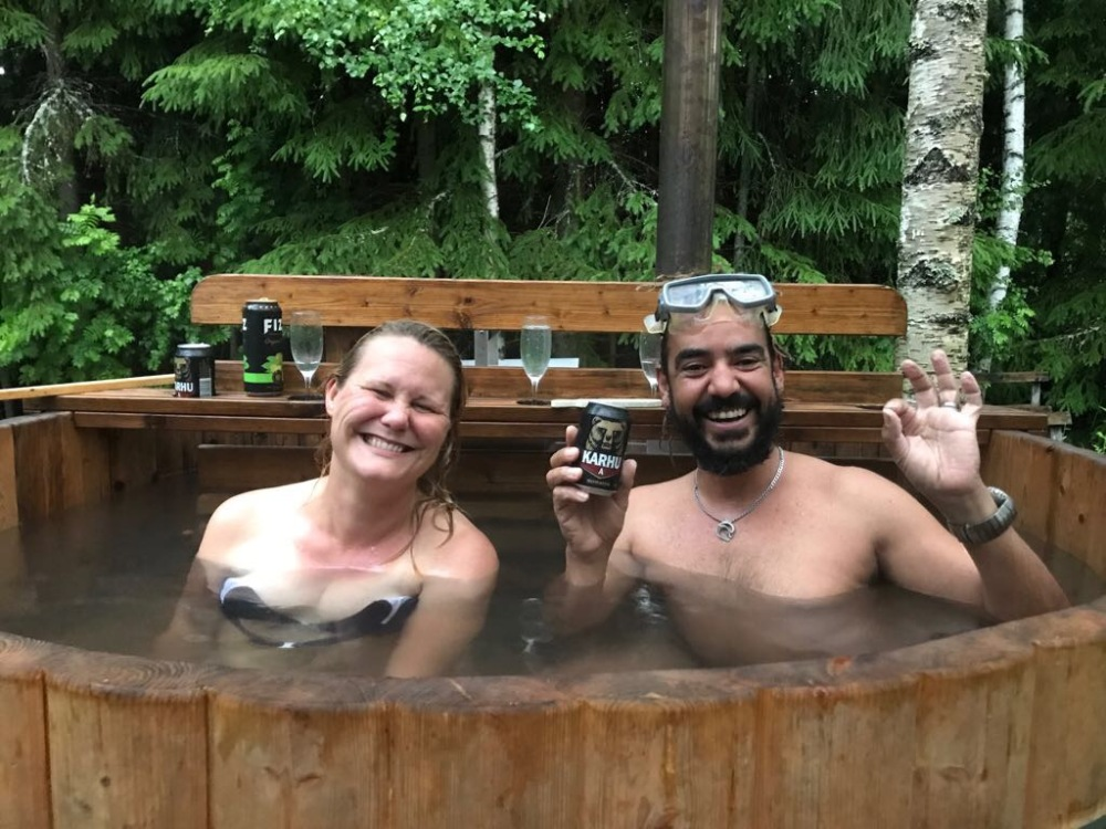 Outside relaxing in friends garden hot tub. Oh yeah Finland